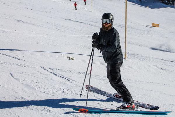 Nach dem ersten Tag ist Jörg wieder gut unterwegs mit den Ski,