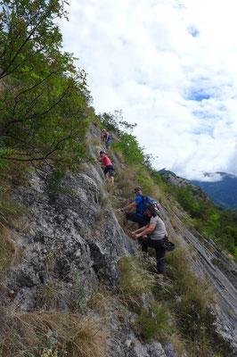 Der Einstieg zum Klettersteig, alle haben ihn geschafft!