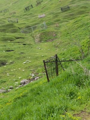 Auch wenn das Grab nicht gerade ist, so steht es immerhin auf dem heiligen Berg.