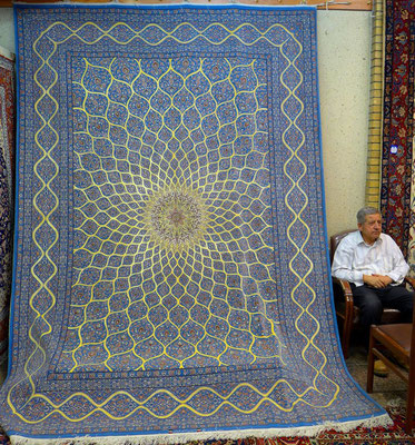 carpets everywhere in Iran, but 40.000$ for this silk carpet are too much for our pocket.