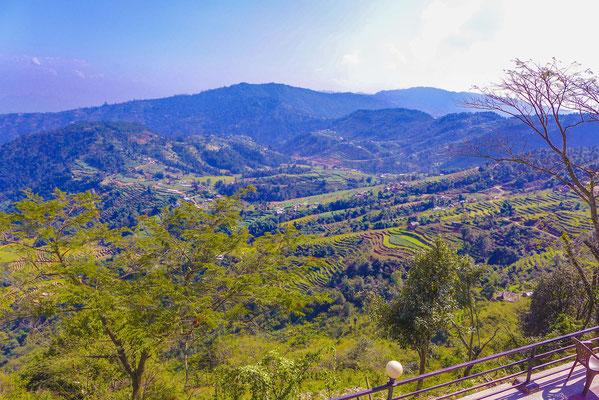 Landschaft mit Terassenfelder in 2000 Metern Höhe