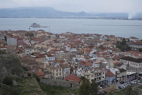 Blick von der Palamidi-Festung auf Nafplio
