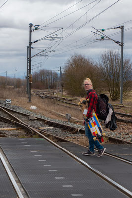 To cross the train routes it is better to carry the boards ;-P