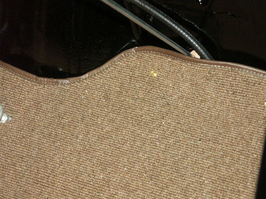 I could not get the female pieces of the carpet studs, so for the time being the studs go through the carpet.