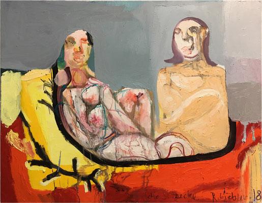 Rüdiger Giebler, Die Sitzecke, 2018, 80 x 100 cm, Öl auf Leinwand