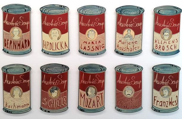 Moritz Götze, Austria Soup, 2020, 10-teilig, Emaillemalerei, je 60 x 38 cm