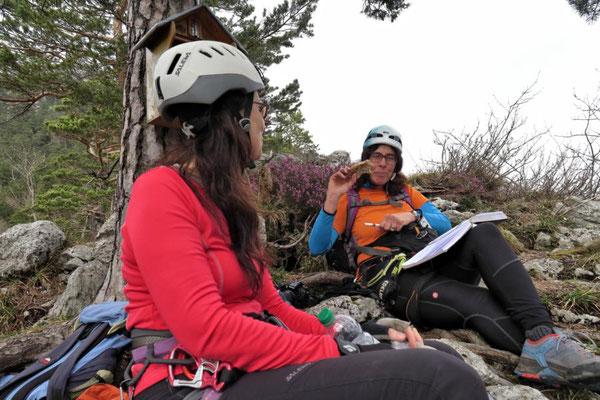 Jausenzeit u. Gipfelbuch schreiben