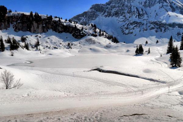 verschneiter Körbersee von oben gesehen