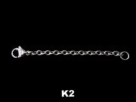 K2 - Kettenverlängrung Edelstahl 4mmx3mm - silberfarben