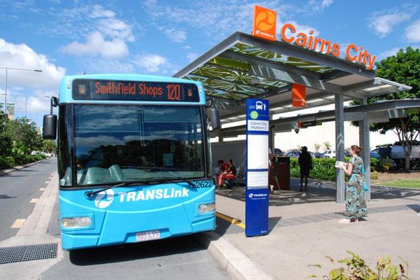 ケアンズ シティー バス ステーション 公共バスSunbusのケアンズ始発地点 - ホームステイ先と町の行き帰りはSunbus利用します