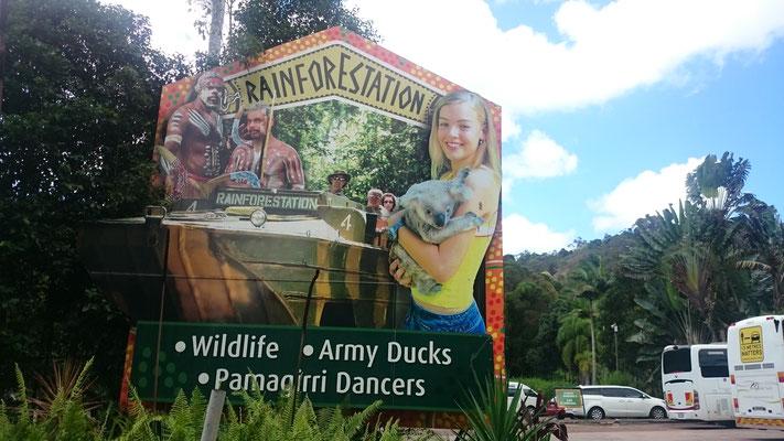 Kuranda - Rainforestation 水陸両用自動車で熱帯雨林を散策したり、ブーメランや槍投げを体験することができます。