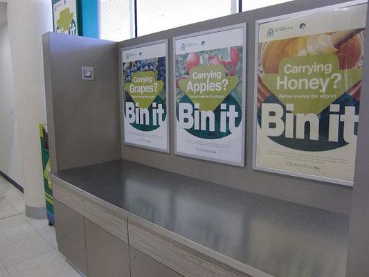 Perth Domestic Airport - オーストラリアでは国内であっても州を跨いでの農作物の持ち込みは禁止されています