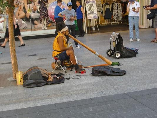 Adelaide Rundle Shopping Mall - こちらのパフォーマーさん、1人で3つの楽器を使い、曲を奏でるというスゴイ人でした。