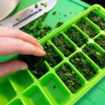 In Eiswürfelportionierer füllen und einfrieren.