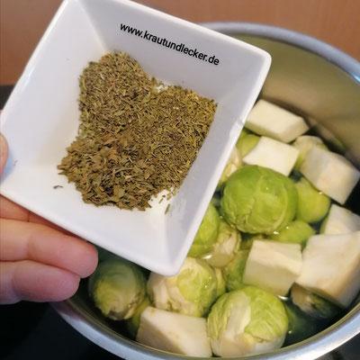 Mit 750 ml Gemüsebrühe, 1 EL Olivenöl undje 1 gestrichenen TL Thymian, Liebstock und Bohnenkraut weich kochen.