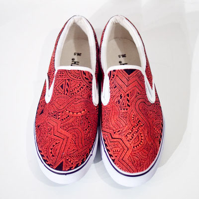 Apsu Hand drwing Shoes/Red&Black/JPY 26,000/オーダー可能