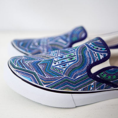 Apsu Hand drwing Shoes/Turquoise Blue Over Drive/JPY 26,000/オーダー可能