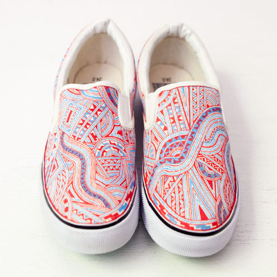Apsu Hand drwing Shoes/Vermilion + Aqua/JPY 26,000/オーダー可能