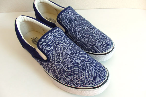 Apsu Hand drwing Shoes/NAVY&WHITE/Front dreing/JPY 16,000/オーダー可能