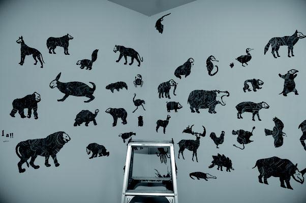 88種類108匹の動物壁画『88+tao-la!!』制作風景