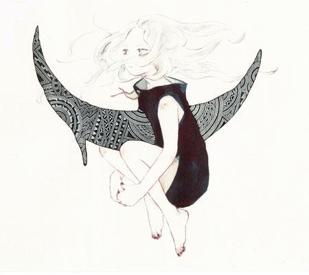Apsu Shusei/むすび×apsu『月舟と守人』/size:210mm×297mm/JPY 50,000/プリント&手描き