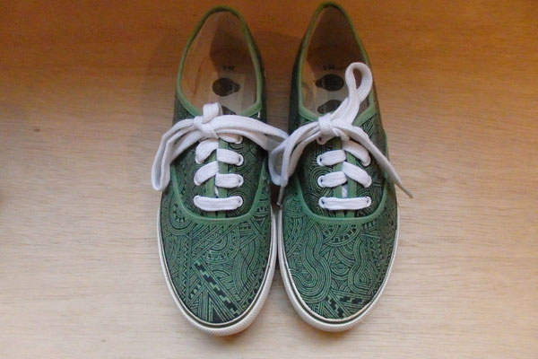 Apsu Hand drwing Shoes 紐付き/GREEN&BLACK/JPY 22,000/オーダー可能