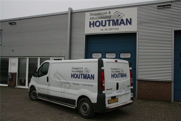 Belettering bedrijfspand en bus Houtman