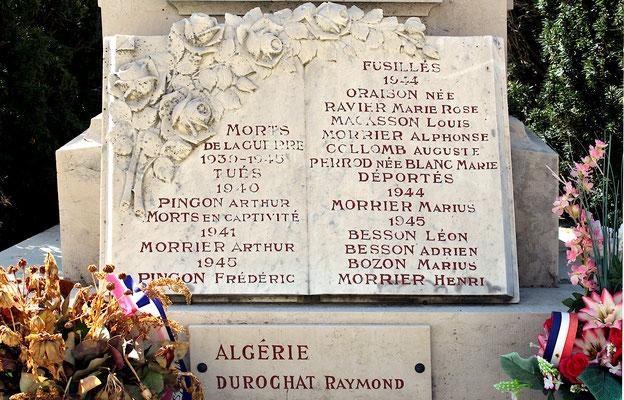 Plaque commémorative du Monument aux Morts d'Aranc