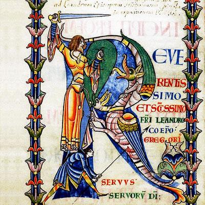 """Lettrine """"figurée"""" : illustration qui se compose d'animaux, de personnages ou d'objet forme la lettre, ici de l'époque mérovingienne"""