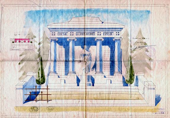 Esquisse du monuments aux Morts de Champdor réalisé par Eugène Vernède