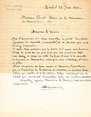 Courrier de Charles Dumarest au maire de Champdor (cette entreprise est aussi intervenue pour le Monument aux Morts d'Hauteville)