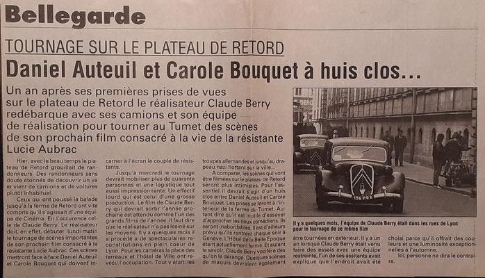 Article concernant le tournage de Lucie Aubrac à la ferme du Tumet sur le Plateau de Retord