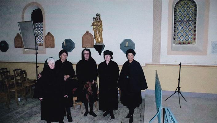 """Figurantes du Plateau, lors du tournage du film """"Marie Heurtin"""" - scène tournée à la Chapelle de Mazières"""