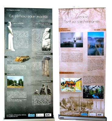 Panneaux de l'exposition Regards d'artistes : sculpteurs et artistes contemporains