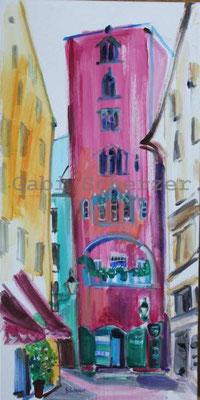 Bild von Foto, Rosa Turm, Regensburg, Acrylmalerei 2015
