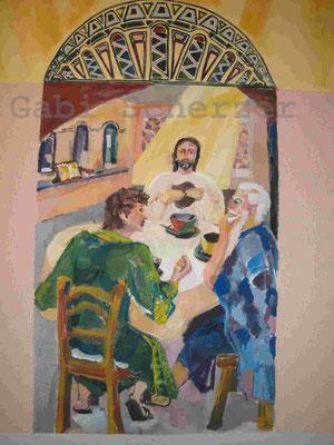 Bild von Bibel, Da gingen ihnen die Augen auf, Emmausjünger, Wandmalerei, 1989