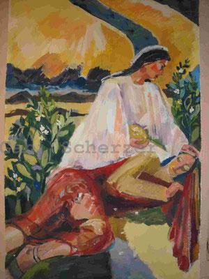 Bild von Bibel, Ein Engel speist Elija, Wandmalerei, 1989