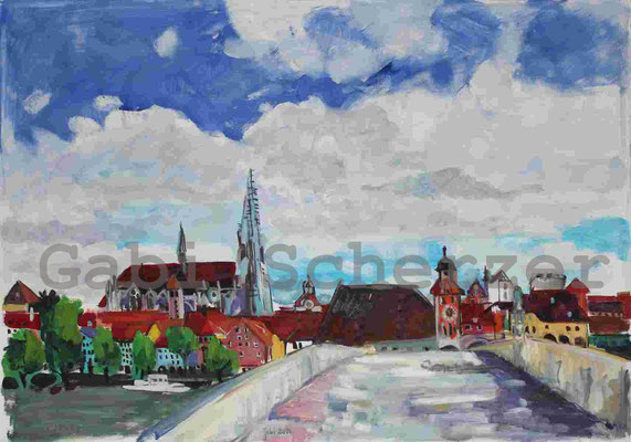 Bild von Foto, Auf der steinernen Brücke, Blick auf Regensburg,Ölmalrei, 2011