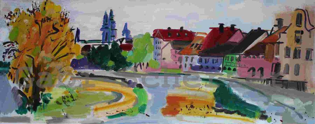 Bild von Foto, Blick auf Regensburg, Ölmalrei, 2009