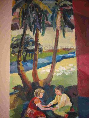 Bild von Bibel, Zwei Kinder spielen am Schlupfloch der Natter, Wandmalerei, 1989