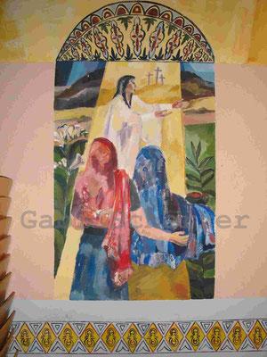 Bild von Bibel, Zeei Frauen am Grab, Wandmalerei, 1989