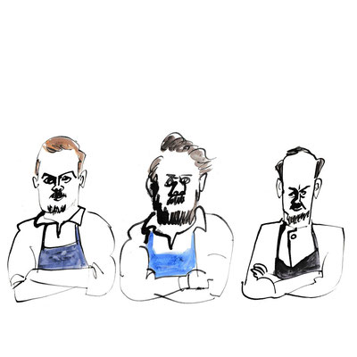 """""""Three chefs with crossed arms"""""""