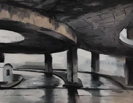 Peripherie, 2021, Öl/Karton, 50 x 65 cm