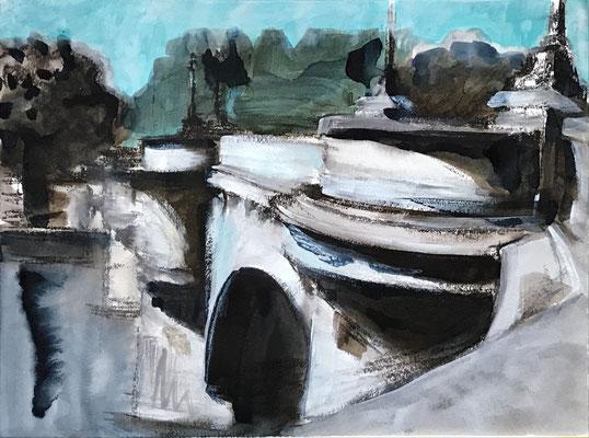 Pont Neuf, Studie II, 2021, 40 x 50 cm