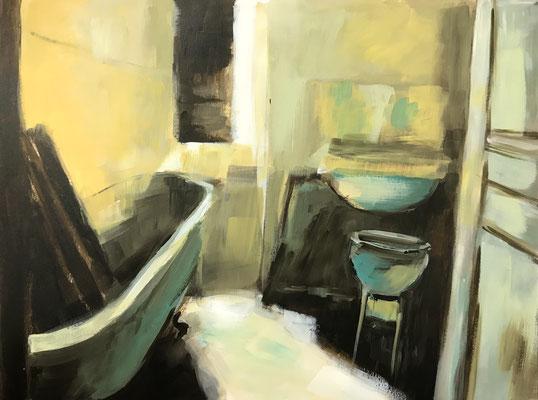 Im Licht baden, 2021, Acryl/Papier, 36 x 48 cm