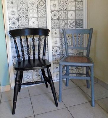 Chaises relookées en deux façons