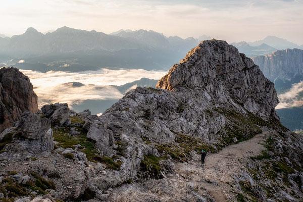 Hiking up to the summit of Sass de Putia