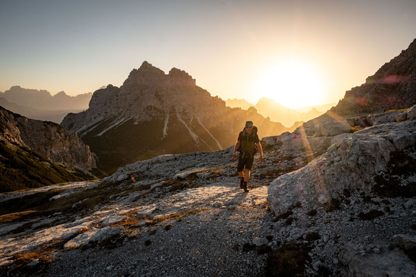 Sunrise views over the mountains of the Dolomiti Bellunesi National Park. Day 10 of Alta Via 1
