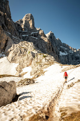 Navigating through the snow around Mount Civetta on the 7th day of Alta Via 1