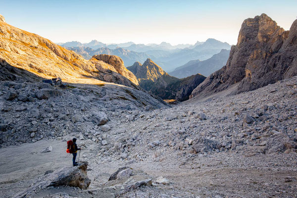 Early morning of day 8 of Alta Via 2, starting the hike to Passo Farangole